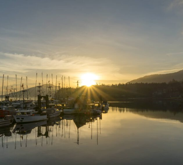 The seaside town of Crofton provides an all-year round ferry service to Saltspring Island