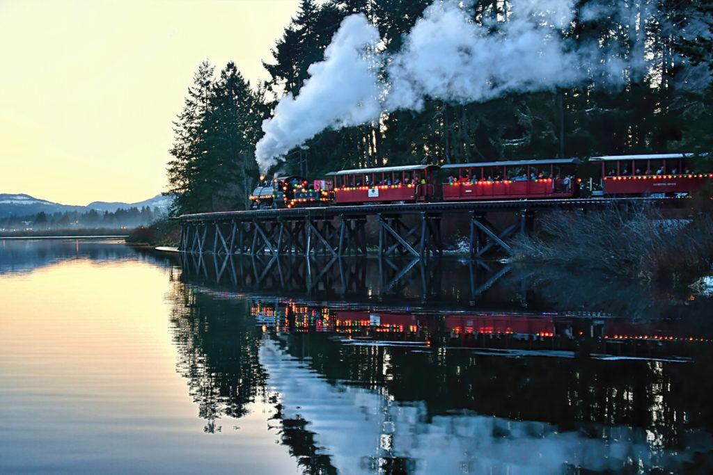 The Christmas Express train in Cowichan, BC  Description automatically generated